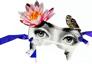 Lotus Maske  29 x 17 cm, Maske, Collage 2012