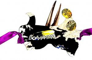 Bommm Maske  27 x 17 cm, Collage 2012