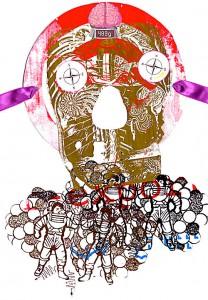 489 g Gehirn Maske  21 x 40 cm, Collage 2012