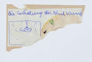 Die Erhöhung der Blutwurst - Beuys  16 x 12 cm, Zeichnung & Schrift 1994