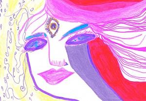 Zeichnung  14,8 x 10,5 cm, Buntstifte 1999