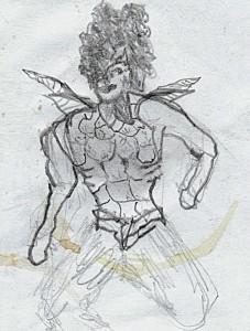Superwoman  8 x 10 cm, Bleistiftzeichnung 2005