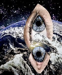 Erde vom Mond aus gesehen  22,4 x 26,3 cm, Collage 2010