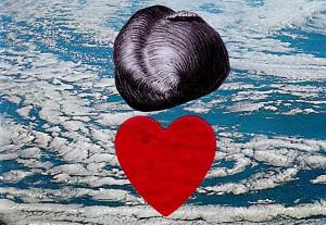 Herzrot  16,7 x 11,7 cm, Collage 2012