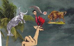 Stier  21,4 x 25 cm, Collage 2010