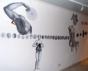 """""""De Topia"""" Collagemontage  12 x 2,50 m, Detailansicht, Einzelausstellung FORM DICH ZU MIR Tatau Obscur Art Galerie Berlin 2012"""