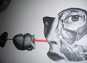 """""""De Topia"""" Collagemontage  12 x 2,50 m, Detail, Einzelausstellung FORM DICH ZU MIR Tatau Obscur Art Galerie Berlin 2012"""
