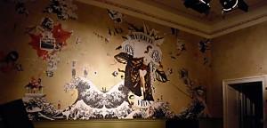 """""""Muerte & Vida"""" Wandcollage 5,19 m x 2,40 m, Gesamtansicht, in Koop. mit e.f.,  Cafe """"im strom"""" Berlin 2008"""