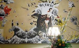 """""""Muerte & Vida"""" Wandcollage 5,19 m x 2,40 m, Ausschnitt, in Koop. mit e.f. Cafe """"im strom"""" Berlin 2008"""