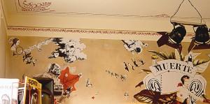 """""""Muerte & Vida"""" Wandcollage 5,19 m x 2,40 m, Detailansicht, in Koop. mit e.f. Cafe """"im strom"""" Berlin 2008"""