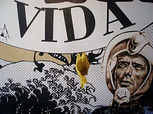 """""""Muerte & Vida"""" Wandcollage 5,19 m x 2,40 m, Detail, in Koop. mit e.f. Cafe """"im strom"""" Berlin 2008"""